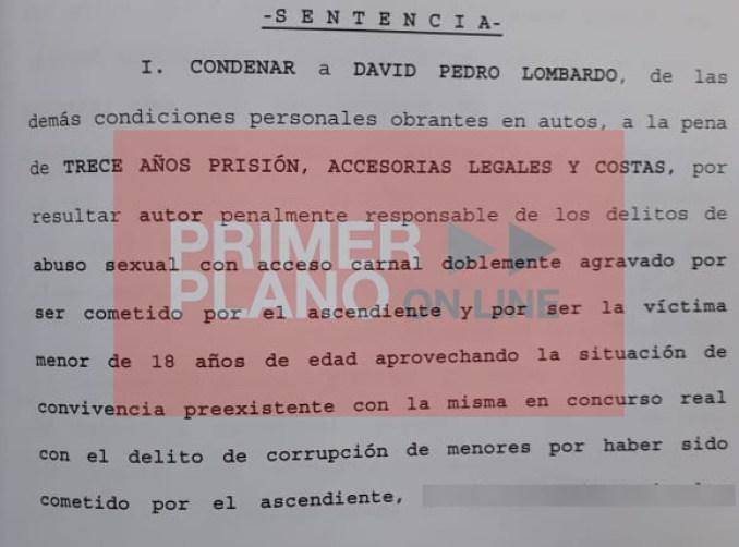 Sentencia condenatoria a Lombardo