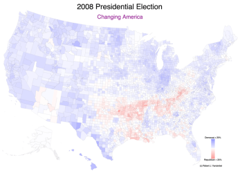 Changing America, 2008 Presidential Election Voting Shift