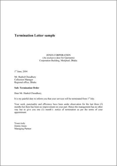 Termination Letter | Real Estate Forms