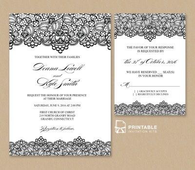Black Lace Vintage Wedding Invitation and RSVP ← Wedding ...