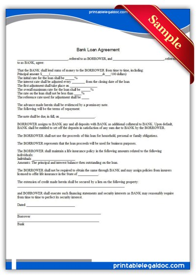 Free Printable Bank Loan Agreement Form (GENERIC)