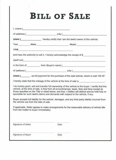Free Printable Car Bill of Sale Form (GENERIC)