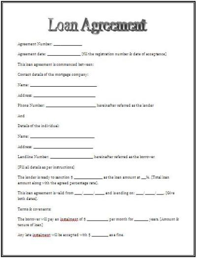 Free Printable Personal Loan Agreement Form (GENERIC)