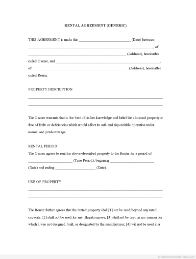 (GENERIC TEMPLATE) Rental Agreement Forms Free Printable