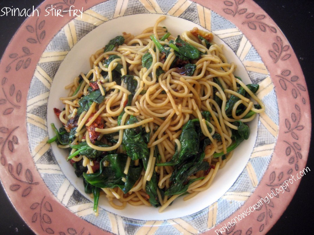 Garlic Spinach Stir-fry Noodles