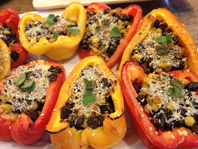 Oven Roasted Peppers with Low Fat Cream Cheese, Sauteed Corn & Beans
