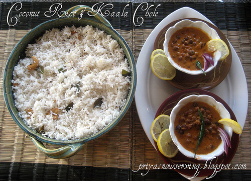 Coconut Rice and Kaala Choley or Channa