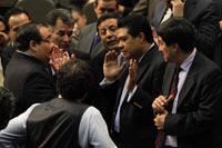 El diputado Alberto Pérez Cuevas (PAN) y Francisco Rojas (PRI), Armando Rios Piter (PRD) y Javier Corral (PAN) durante la sesión. Foto: Eduardo Miranda