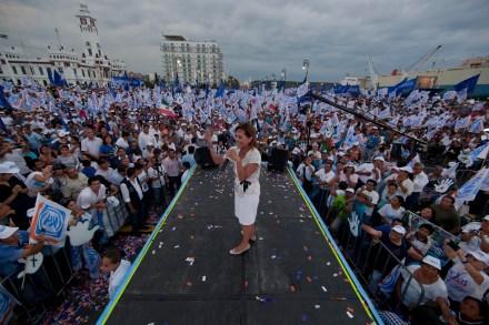 El acto proselitista en el puerto de Veracruz. Foto: Octavio Gómez.