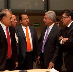 Anaya, Zambrano, Walton, Obrador y Monreal. Foto: Miguel Dimayuga