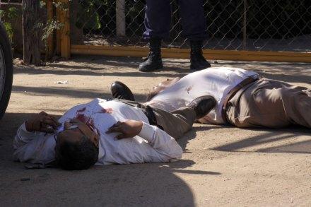 La escena del asesinato de Aurelio Fausto Cháidez Chavarín, quien fue ex alcalde de Angostura, Sinaloa. Foto: Juan Carlos Cruz