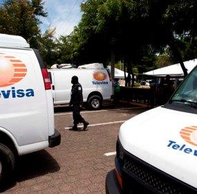 Las camionetas con logos de Televisa decomisadas en Nicaragua. Foto: AP photo/ Esteban Felix