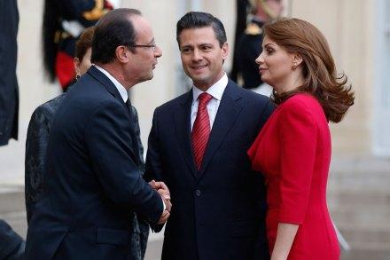 Hollande, Peña y Rivera. Protocolo presidencial. Foto: AP