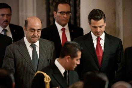 Murillo Karam y Peña Nieto. Consejo de seguridad. Foto: Xinhua / Rodrigo Oropeza