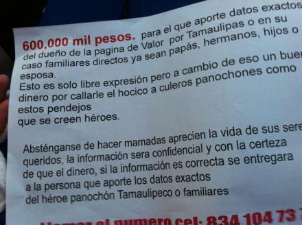 Amenazas contra Valor por Tamaulipas
