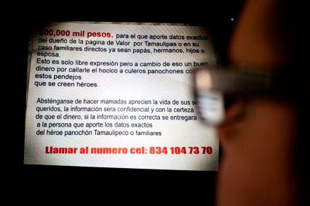 (Archivo) Una amenaza contra el administrador de la página Valor por Tamaulipas en Facebook. Foto: Especial