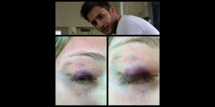 Un retrato de Gerardo Saade y la agresión a Alexia Ímaz. Foto: Instagram