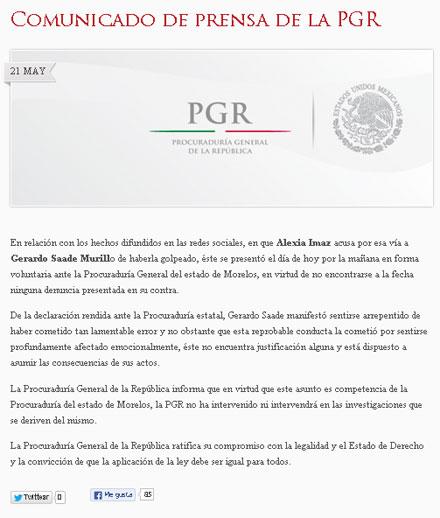 El comunicado de la PGR.