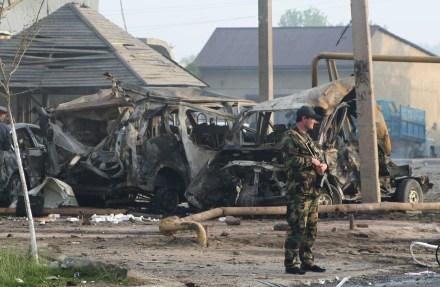 El saldo de un atentado en Makhachkala, al sur de Rusia. Foto: AP