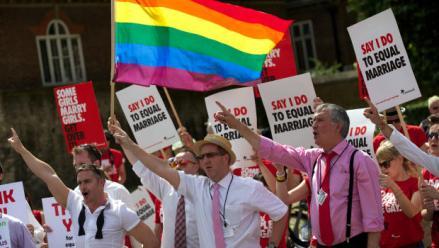 Una protesta a favor del matrimonio gay en Londres. Foto: AP