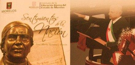 La imagen de Obrador en el libro de texto morelense. Foto: Especial