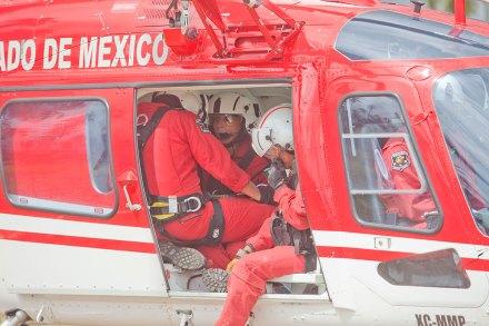 El helicóptero del Edomex que utilizó Bozzo para llegar a grabación en Coyuca, Guerrerro. Foto: Eduardo Miranda