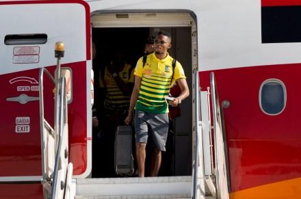 Samuel Eto'o a su llegada a Brasil. Foto: AP