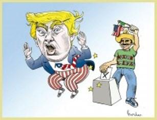 La amenaza de Donald Trump. Cartón: Rocha