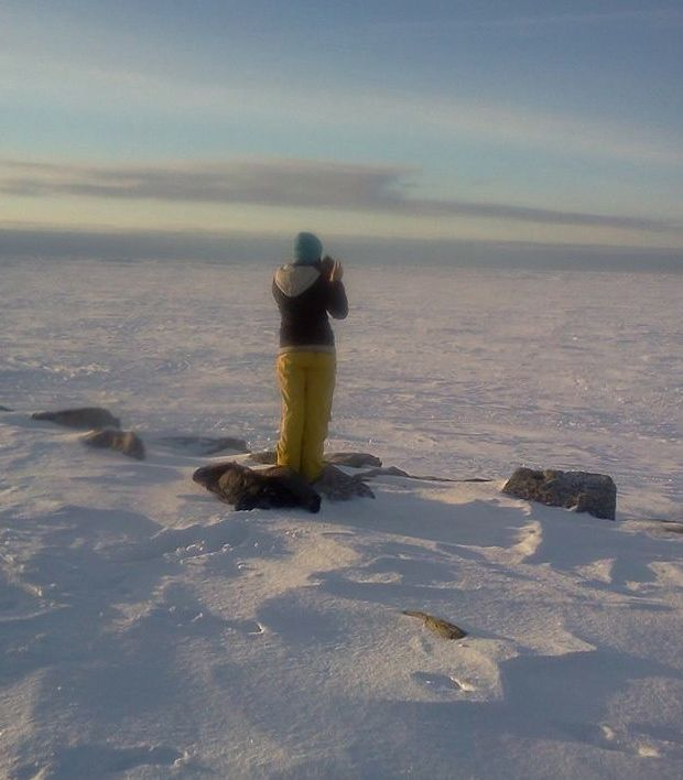 The author looking upon the Bering Sea Ice in Nome, AK.