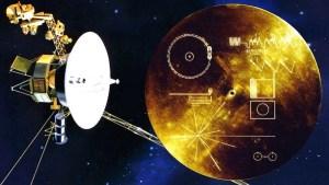 Guldskivan som skickades med Voyager 1 och Voyager 2 1977.