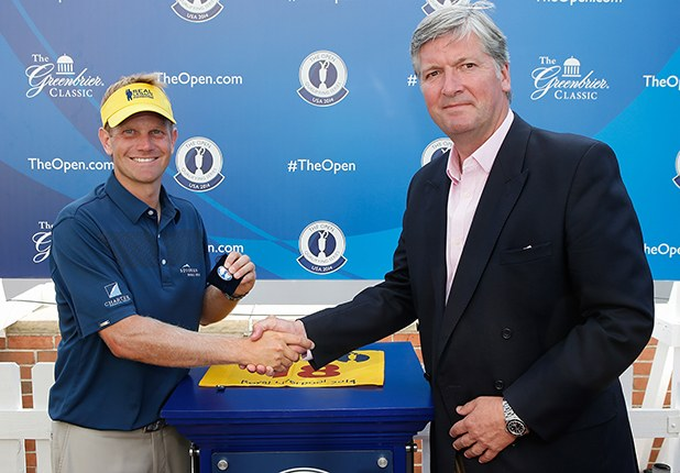 Billy Hurley III is shown here in 2014 after earning a spot in the British Open for his play at the Greenbrier Classic. The R&A's Michael Tate handed Hurley the invite. Credit: Getty