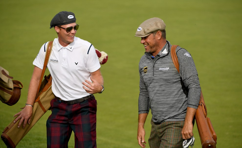 CRANS-MONTANA, SWITZERLAND - SEPTEMBER 03:  Danny Willett of England and Lee Westwood of England during the 'Turn Back Time Golf Challenge' after the third round of the Omega European Masters the at Crans-sur-Sierre Golf Club on September 3, 2016 in Crans-Montana, Switzerland.  (Photo by Ross Kinnaird/Getty Images)