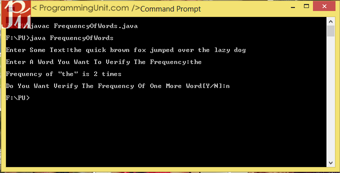 java program to make frequency count of words in a given text