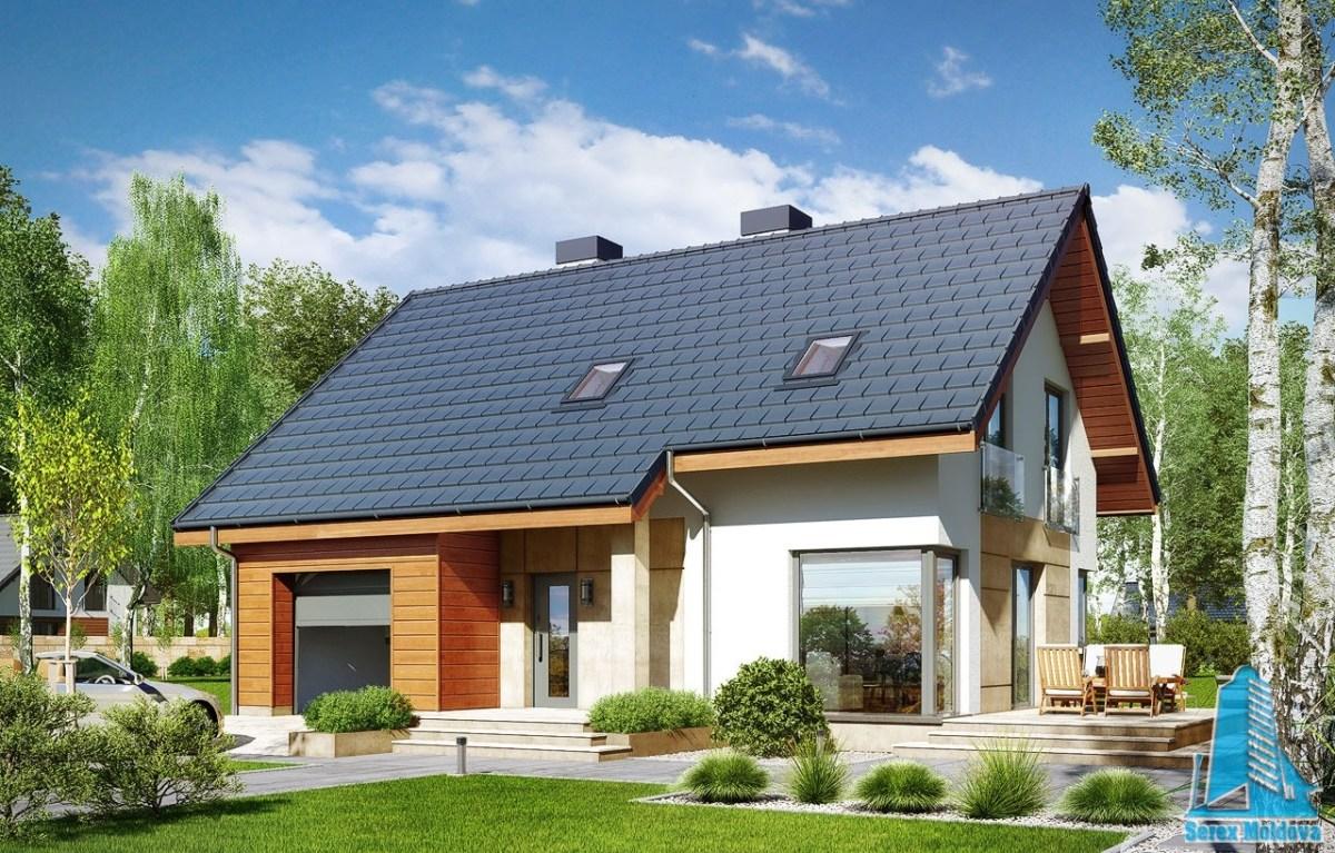 Proiect de casa mica cu mansarda si garaj pentru o masina