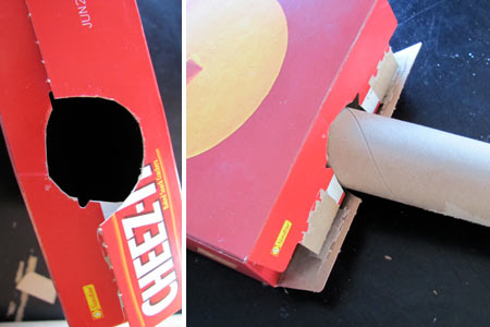 cut holes in cardboard box