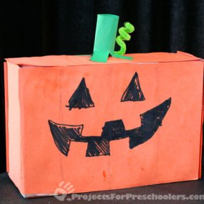 Recycled box Jack-o-Lantern Halloween craft