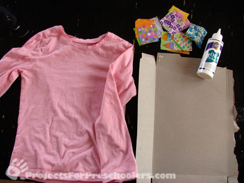 Materials to make your own fabric scrap decorated shirt