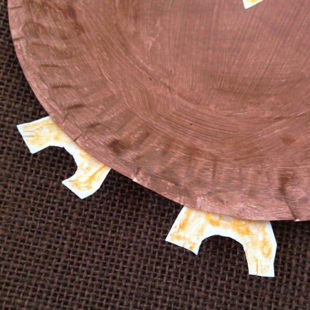 Owl feet for paper plate craft