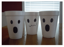 Styrofoam cup ghosts