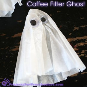 Coffee Filter Ghosts Simple Halloween Craft