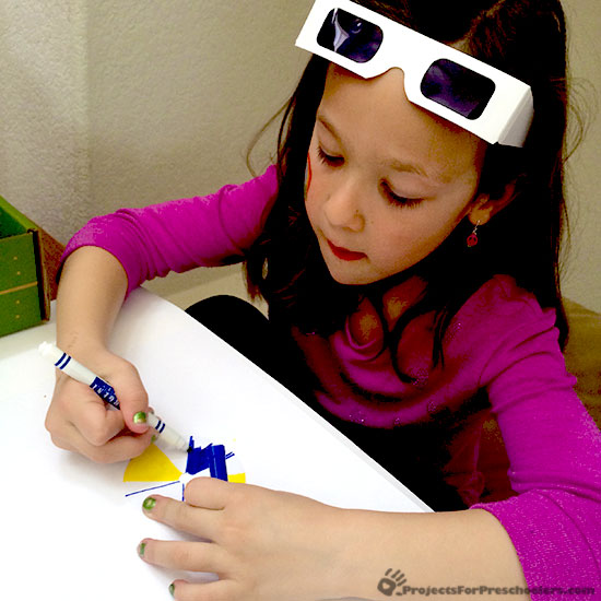 Coloring with blue glasses