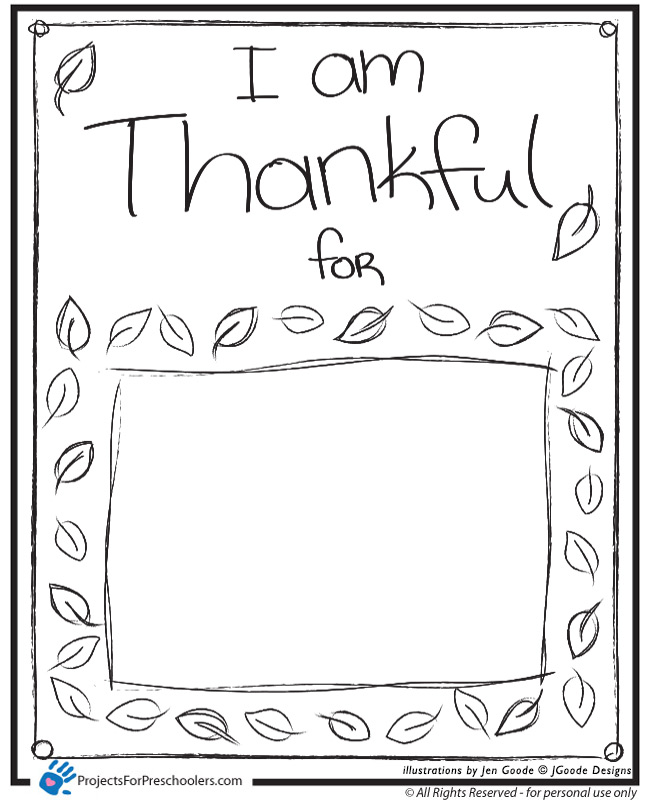 I am Thankful Projects for Preschoolers