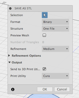 fusion 360 save as stl export output