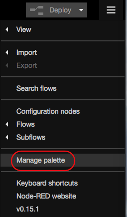 node-red manage palette