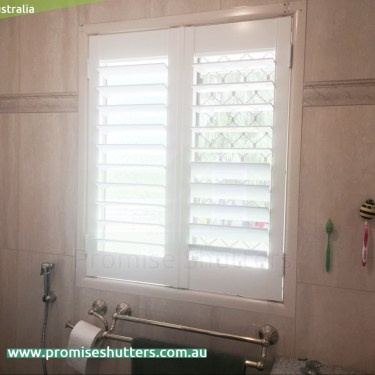 white plantation shutters installed in side hinges, only for 1 or 2 panels