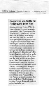 FR_Margarezte von Trotta fuer Frauenquote im Film