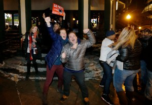 Photo courtesy of AP Photo/Steven Senne New England Patriots fans celebrate Sunday, Feb. 1, 2015, in Boston, after the Patriots won the NFL Super Bowl XLIX football game against the Seattle Seahawks 28-24 in Glendale, Ariz.