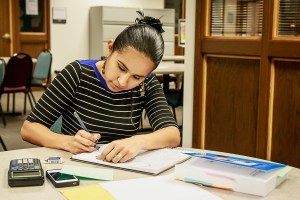Photo by Scott Wells/Prospectus News Business Administration student Valeria Rohde studies in the Center for Academic Success on Wednesday, Jan. 21, 2015.  The Center is open Monday through Friday from 8 a.m. to 5 p.m.