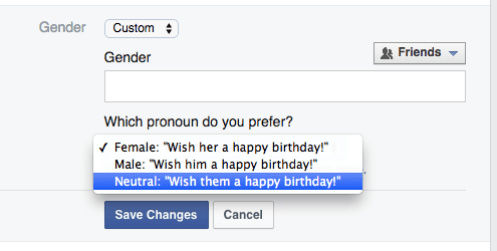 """Screenshot from www.facebook.com This screenshot from a Facebook user's personal information page shows the new option that Facebook has given to users, allowing them to choose a custom setting without pronouns involved. Now, instead of choosing between being referred to as """"him"""" or """"her,"""" users can be referred to as a neutral """"them."""""""