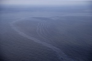 Photo by Gerald Herbert | AP Photo  This March 31, 2015 photo shows an oil sheen drifting from the site of the former Taylor Energy oil rig in the Gulf of Mexico, off the coast of Louisiana. The AP's review of more than 2,300 pollution reports since 2008 found they didn't match official accounts of a diminishing leak. In fact, the reports show a dramatic spike in sheen sizes and oil volumes since Sept. 1, 2014.
